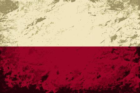 polish flag: Polish flag. Grunge background. Vector illustration