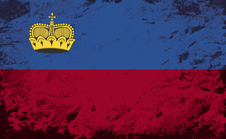 liechtenstein: Liechtenstein flag. Grunge background. Vector illustration Illustration