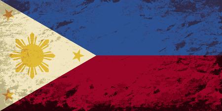 philippines: Philippines flag. Grunge background. Vector illustration