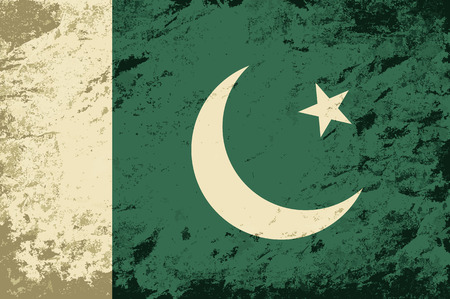 pakistani: Pakistani flag. Grunge background. Vector illustration
