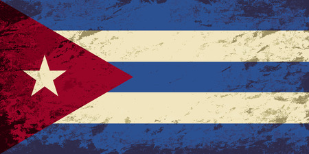 cuban flag: Cuban flag. Grunge background. Vector illustration