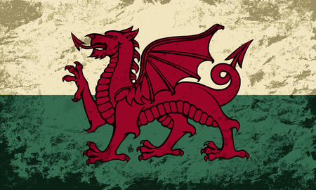 welsh flag: Bandiera gallese. Grunge. Illustrazione vettoriale Vettoriali