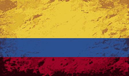 colombian flag: Colombian flag. Grunge background. Vector illustration