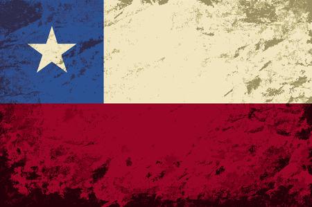 chilean flag: Chilean flag. Grunge background. Vector illustration Illustration