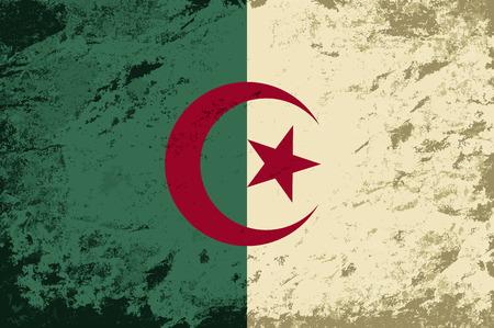 Algierski: Flaga Algierii. Grunge tle. Ilustracji wektorowych
