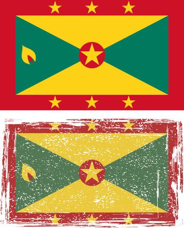 grenada: Grenada grunge flag. Vector illustration