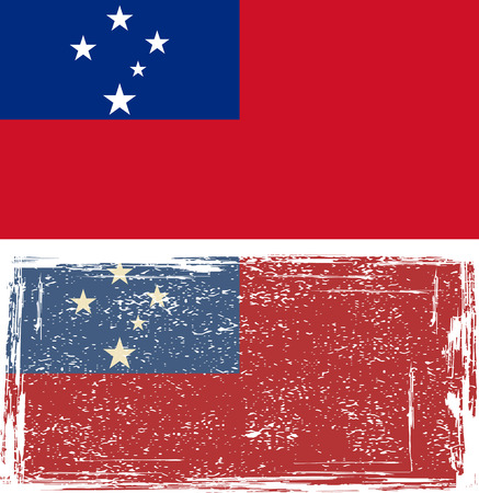 samoa: Samoa drapeau grunge. Vector illustration.