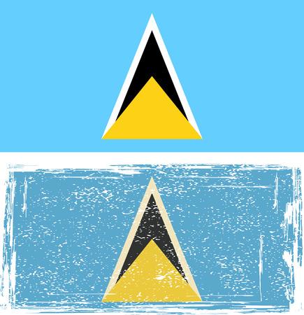 lucia: Saint Lucia grunge flag. Vector illustration.