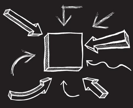 Vector Chalk Arrows. Hand drawn vector illustration. Vector