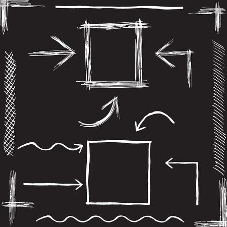 cuadrados: Vector tiza flechas. Dibujado a mano ilustración vectorial. Vectores