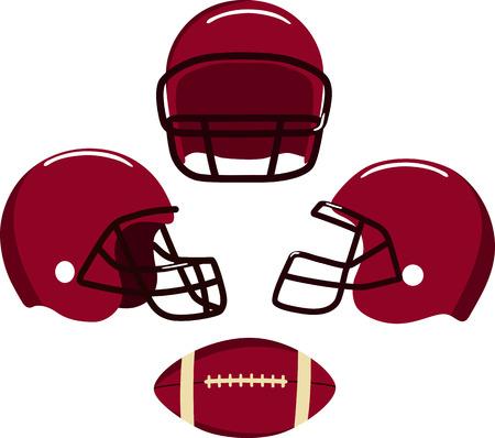 casco rojo: Cascos de fútbol americano y la bola. Ilustración vectorial