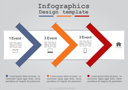 website banner: Infographics with paper arrows. Vector illustration