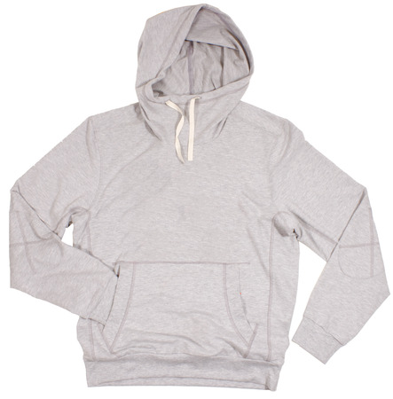 Gray hoodie trui. Geïsoleerd op een witte achtergrond. Stockfoto