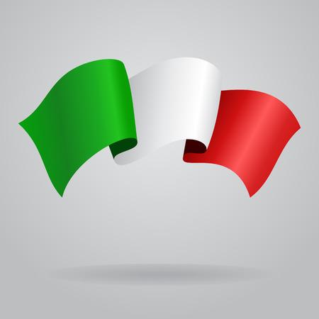 Bandera que agita de Italia. Ilustración vectorial