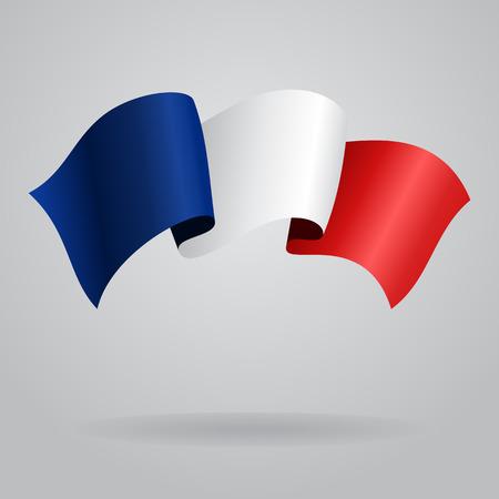french flag: French waving Flag. Vector illustration Illustration