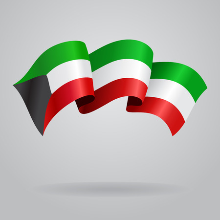 kuwait: Kuwait waving Flag. Vector illustration