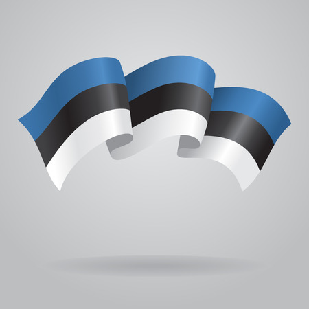 estonian: Estonian waving Flag. Vector illustration