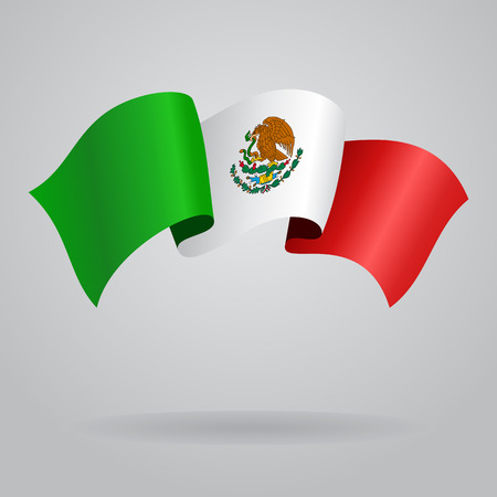 Mexican waving Flag. Vector illustration