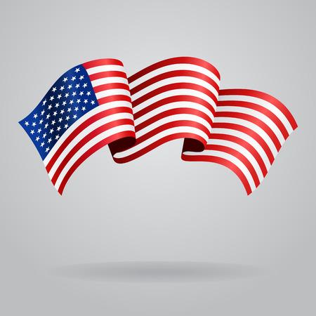 Waving flag américain. Vector illustration