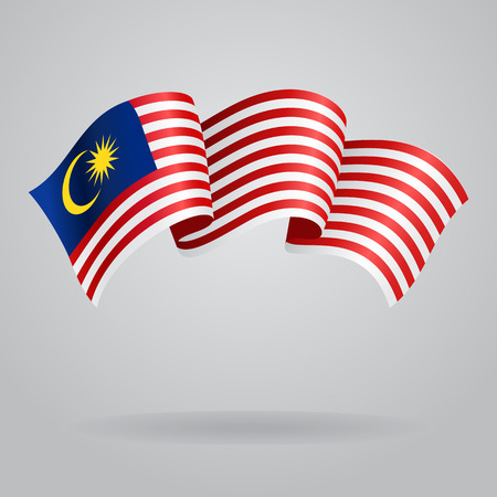 country flags: Malaysian waving Flag. Vector illustration