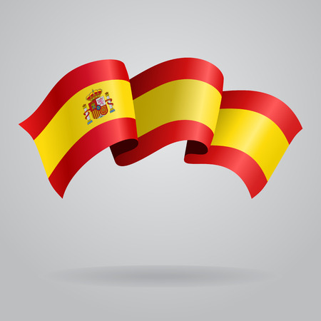 Spanish waving Flag. Vector illustration Çizim