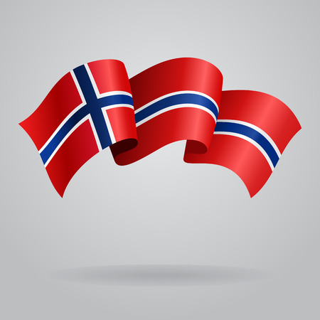 norwegian flag: Norwegian waving Flag. Vector illustration