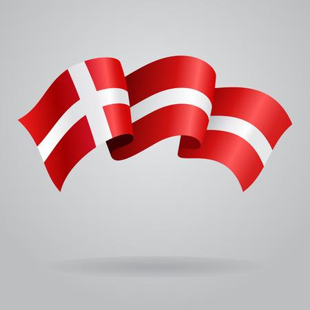 デンマークの国旗を振っています。ベクトル図