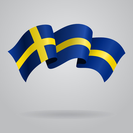 swedish: Swedish waving Flag. Vector illustration