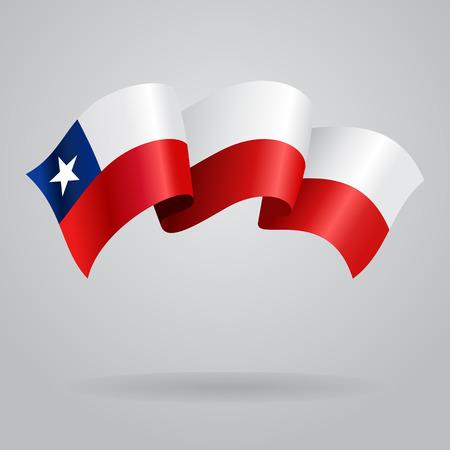 bandera chilena: Bandera que agita de Chile. Ilustraci�n vectorial