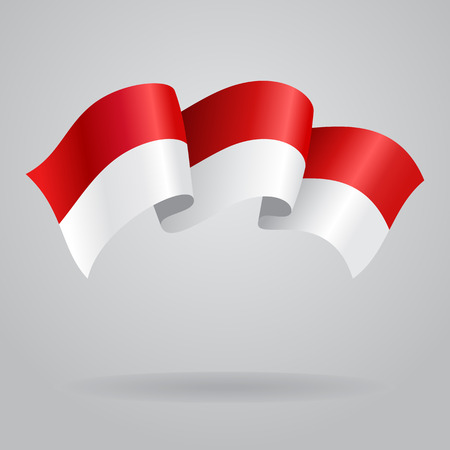 Indonesian waving Flag. Vector illustration Çizim