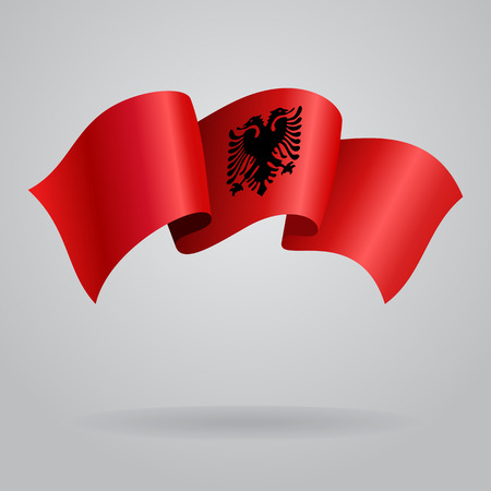 albanian: Albanian waving Flag. Vector illustration Illustration