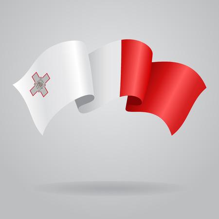 maltese: Maltese waving Flag. Vector illustration Illustration