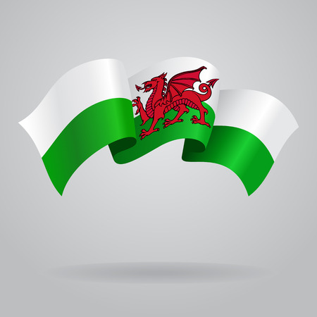 welsh: Welsh waving Flag. Vector illustration