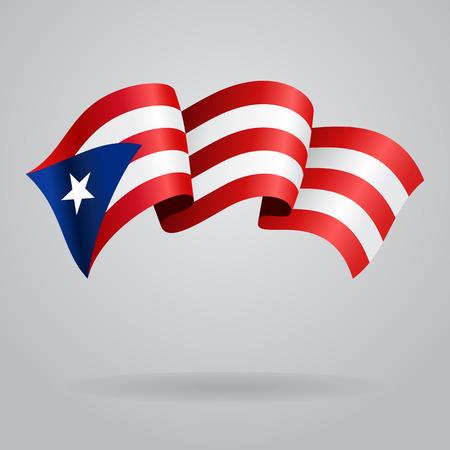 bandera de puerto rico: Puerto Rico bandera ondeando. Ilustración vectorial Vectores