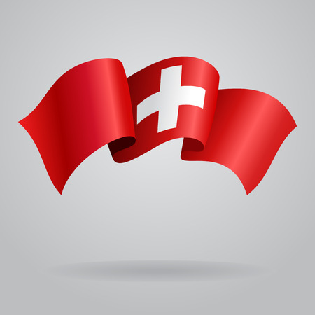 Swiss waving Flag. Vector illustration