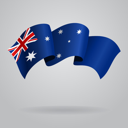 Australian waving Flag. Vector illustration Vettoriali