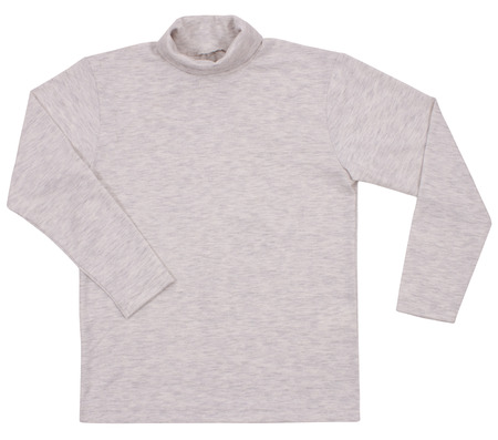 sleeved: Gray child turtleneck. Isolated on a white background. Clipping paths included. Stock Photo