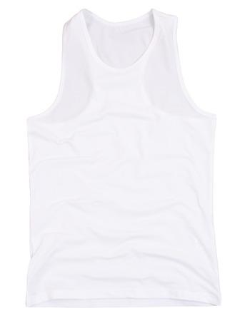 unisex: Sleeveless unisex shirt isolated on white background. Clipping paths included. Stock Photo