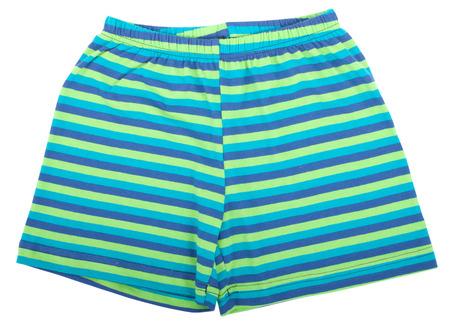 pijamada: Pantalones cortos deportivos infantiles. Aislado en un fondo blanco