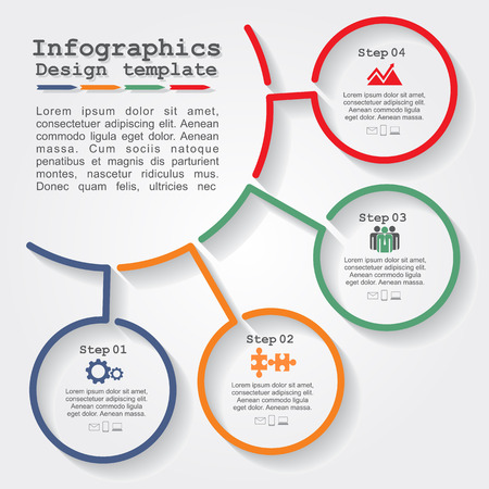 process chart: Infographic report template with lines and icons. Vector