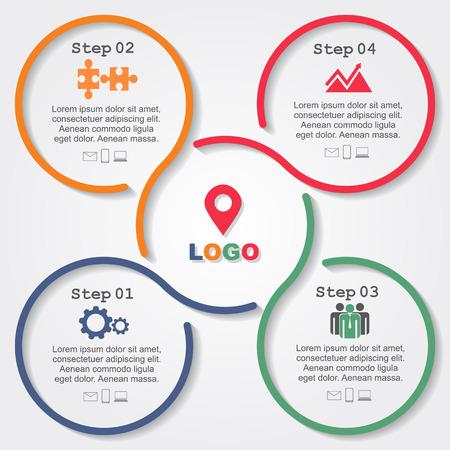 Infografik Berichtsvorlage mit Linien und Symbole. Vektor Standard-Bild - 38619937
