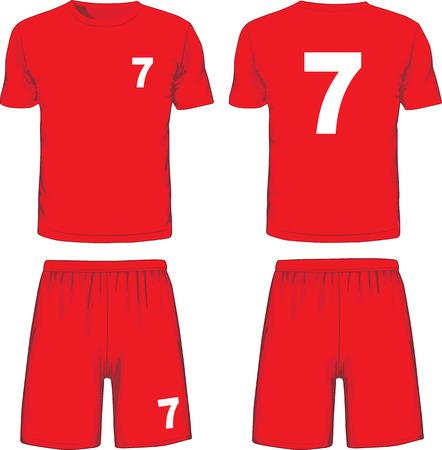 pantalones cortos: Conjunto de frente uniforme de fútbol y vista posterior. Vector