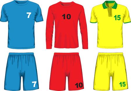 Réglez d'uniforme de football différent. Vecteur