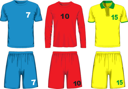jerseys: Set of different soccer uniform. Vector
