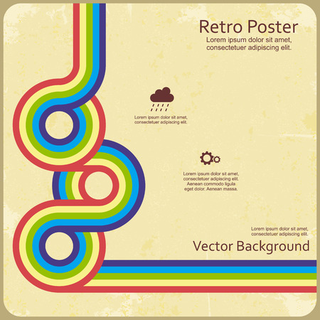 poster template: Abstract retro lines background. Vector illustration