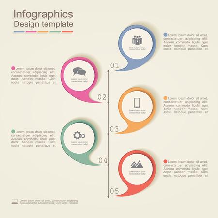 flujo: Plantilla de diseño Infografía. Ilustración vectorial