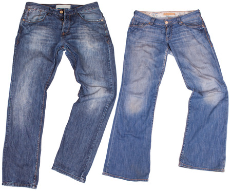 stride: Mans and womans blue jeans isolated on white background.