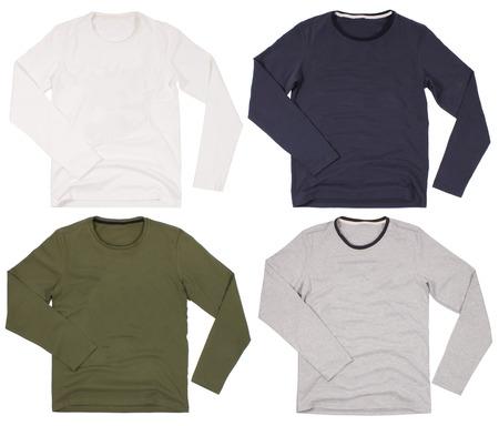long: Set of mens shirts isolated on white background Stock Photo