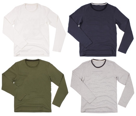 long sleeves: Set of mens shirts isolated on white background Stock Photo