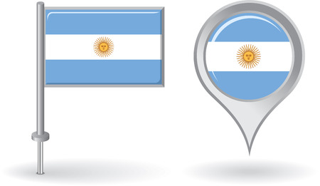 argentinean: Argentinean pin icon and map pointer flag